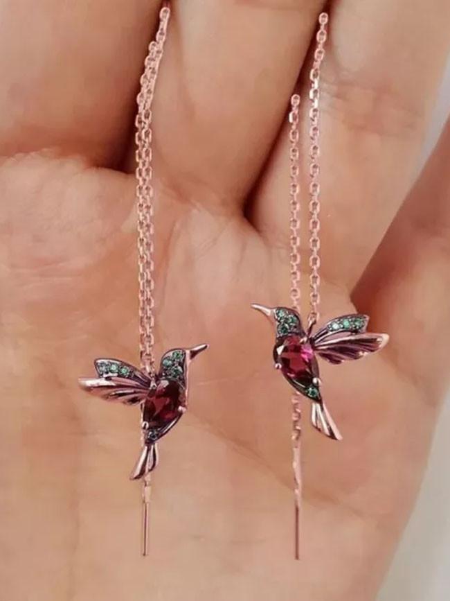 Fashion Little Bird Drop Long Hanging Earrings for Women Elegant Tassel Earring