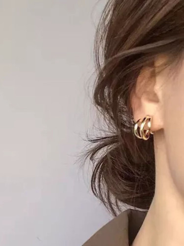 Trendy Metal Hoop Earring Woman Vintage Triple Open Circle Statement Earrings