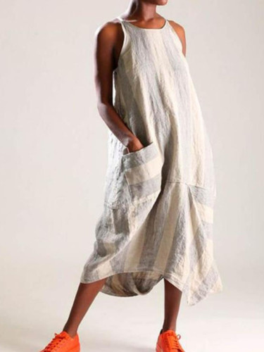 Casual linen striped ladies pocket dress