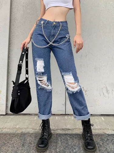 Fashion Holes Chain High waist Straight Street shot Hipster Denim Pants