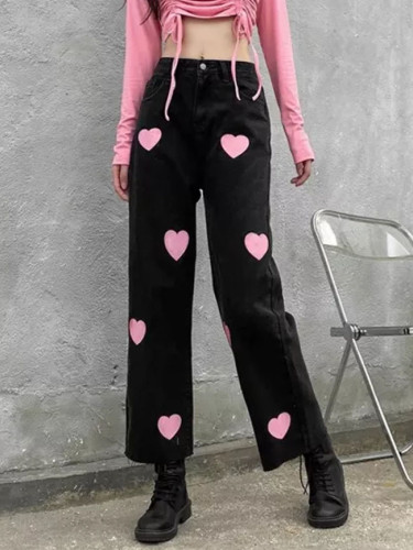 Casual Street Hipster Feminine High-Rise Pink Heart Print Slim Jeans