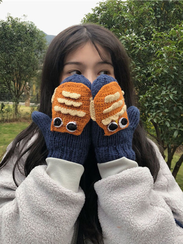 Cute Cartoon Gloves Warm Knitted Yarn Mittens Winter with Halter Neck