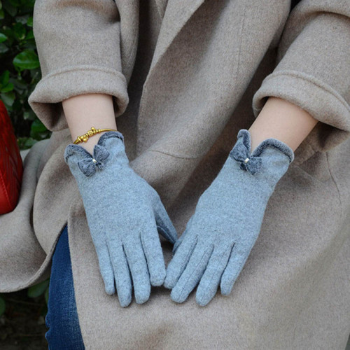 Wool Knit Embroidery Bow Dotted  Winter Women Warm Cashmere Full Finger Gloves