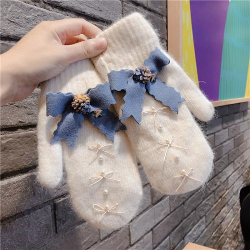 Winter Keep Warm Cashmere Thicken Cute Pearl Decoration Mittens