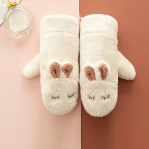 Winter ladies knitted cute rabbit hanging neck plus velvet warm mittens