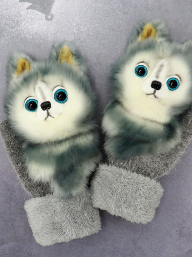 Cartoon animal autumn and winter warm mittens plush knitted gloves