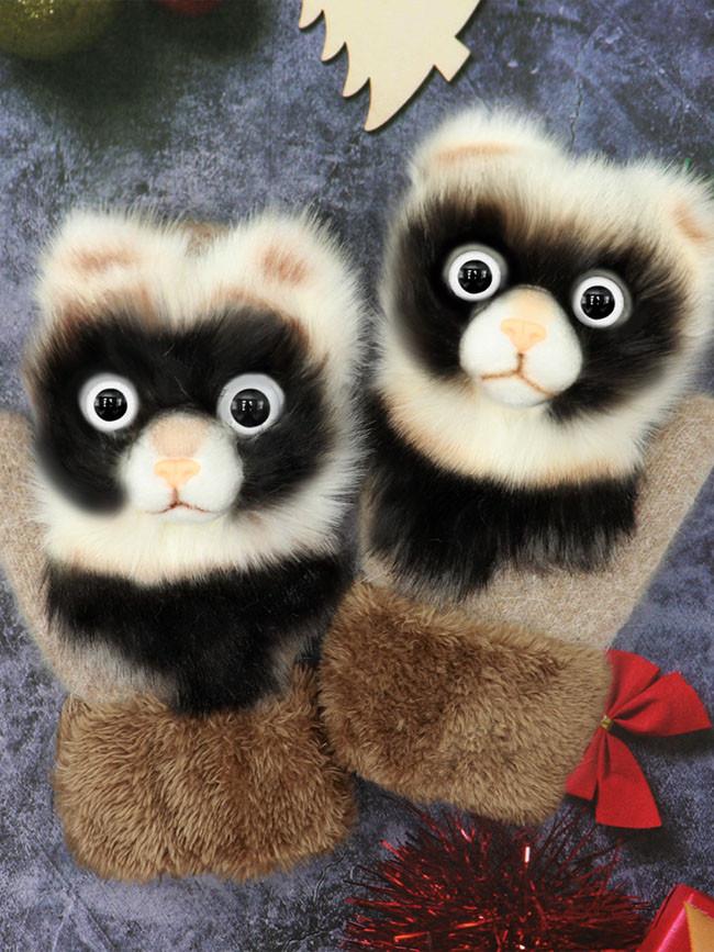 Knitted Gloves Cute Fluffy Cartoon Animal Decor Thickened Outdoor Warm Mitten