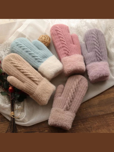 Winter Women Warm Plus Velvet Full Finger Cycling Woolen Gloves
