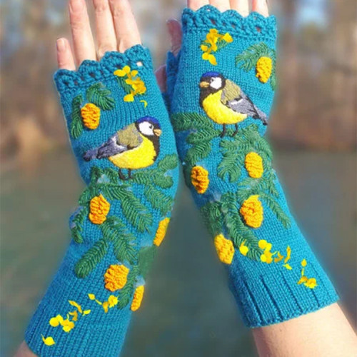 Embroidered knitted yellow flower birdie women's gloves for longer warmth