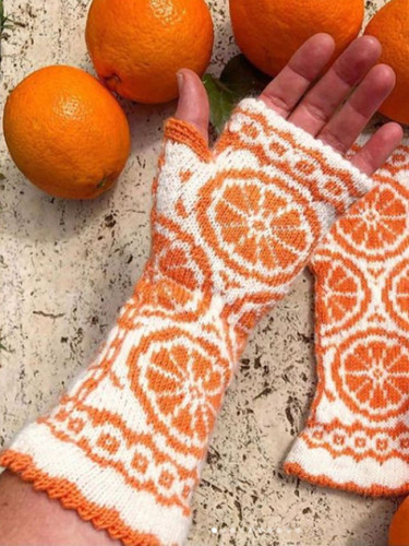 Knitted Embroidered Orange Gloves Women's Long Style Keep Warm