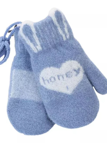 Winter Warm Cute Love Heart Pattern Honey Letters Knitted Gloves Mittens