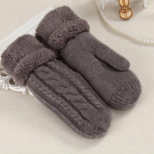 Fashion Knit Twist Flowers Mittens Wool Plus Velvet Thickening Warm Full Finger Gloves
