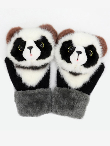 Knitted Gloves Cute Fluffy Cartoon Animal Decor Thickened Outdoor Warm Mitten