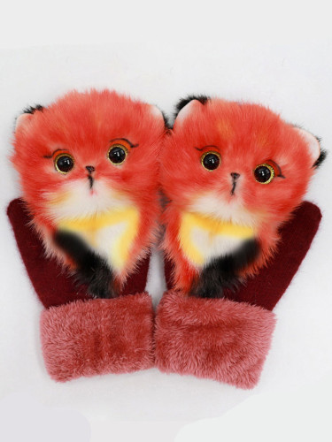 Cartoon animal gloves autumn and winter warm mitten plush knitted gloves