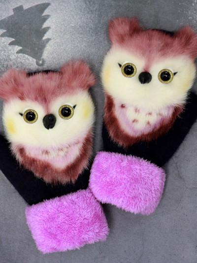 Cartoon animal gloves autumn and winter warm mitten plush knitted gloves