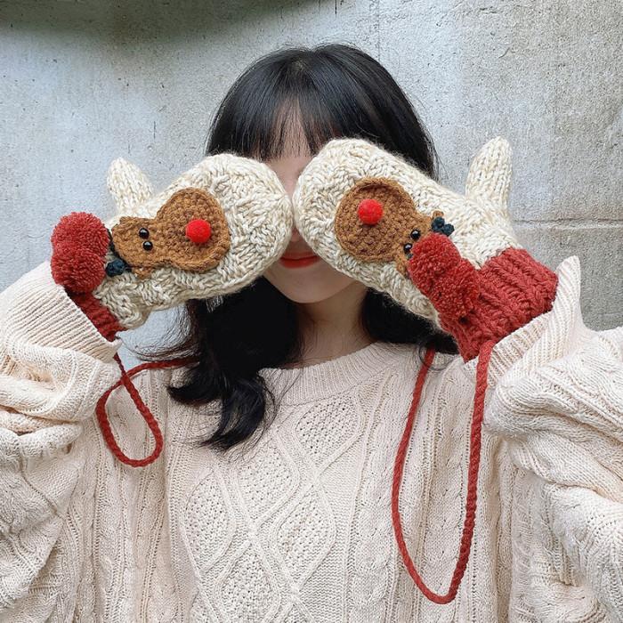 Fawn Halter Mittens Thicken Warm Cute Knitted Woolen Gloves