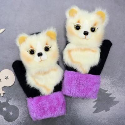 Cartoon animal autumn and winter warm mittens plush knitted gloves