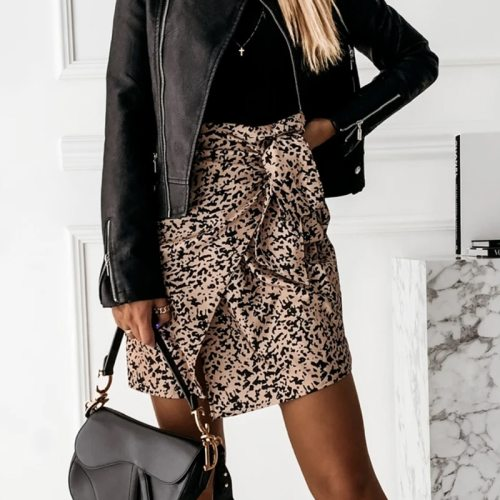 Spring Women High Waist Leopard Print Mini Wrap Skirts