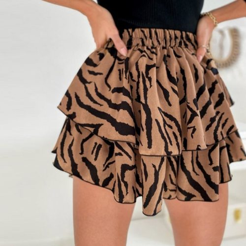 Women High Waist Leopard Print Skirt Ruffles Summer Casual Elastic Mini Skirts A-Line Elegant Holiday Boho Short Skirts 2021