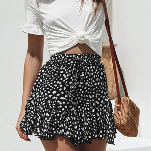 Short Skirts Women Leopard Print A-Line Cascading Ruffles Skirt High Waist Fashion Casual Female Spring 2021 New Skirt