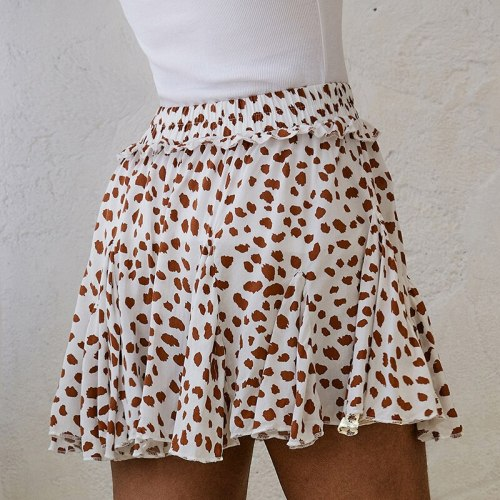 Short Skirt Women A-Line Polka Dot Print Prairie Chic Cascading Ruffle High Waist Skirt 2021 Summer Casual Female Mini Skirt