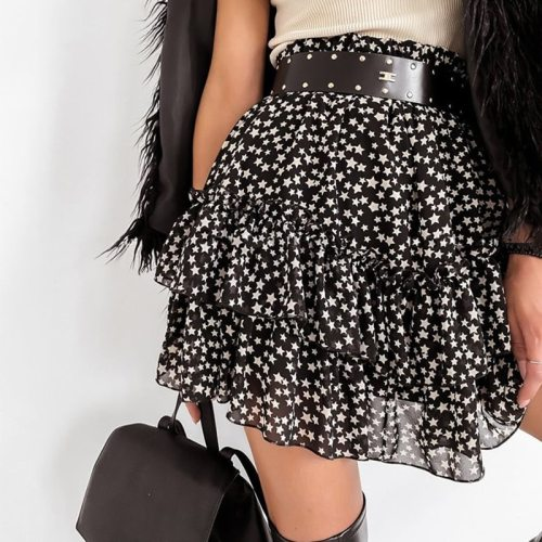 Women High Waist Ruffled Star Print Skirt 2021 Summer Casual Mini Chiffon Skirt Elastic Female Spring Elegant A Line Short Skirt