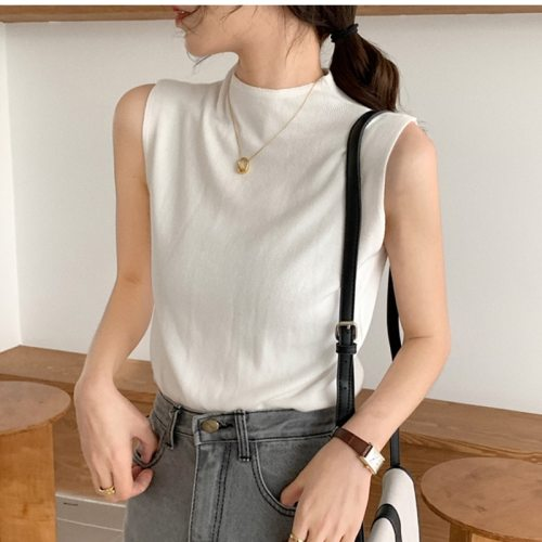 Sexy Knitted Top Summer Turtleneck Tank top Women camisole Blouse Sleeveless Slim Top Female sleveless t-shirt Vest Casual Camis