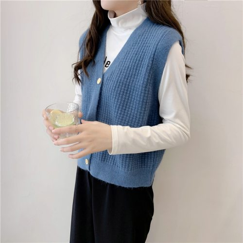 Vest Women Retro V-Neck Daily Knitted Stylish Students Korean Style Solid Vest Sleeveless Outwear Female Coats All-match Leisure