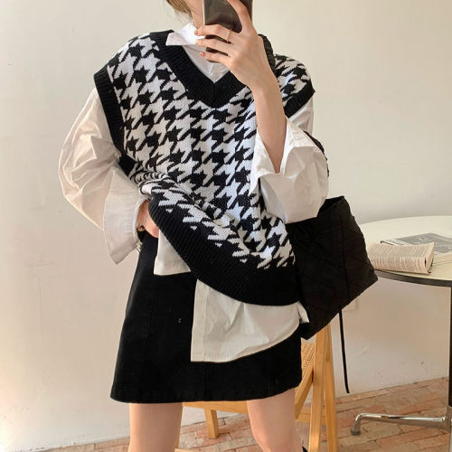 Women Sweater Vest Autumn Houndstooth Plaid V-Neck Sleeveless Knitted Vintage Loose Oversized Female Pullover Waistcoat Tops