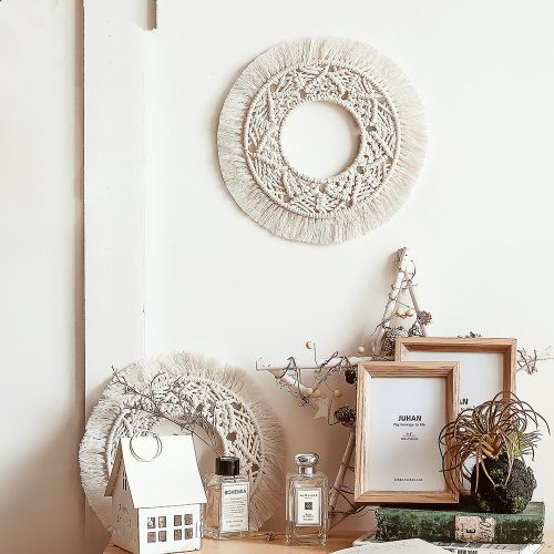 Round Mirror Macrame Wall Hanging Boho Decor Tapestry  Home Decor Apartment,Dorm,Bedroom,Living Room,Nursery,Party Decorations