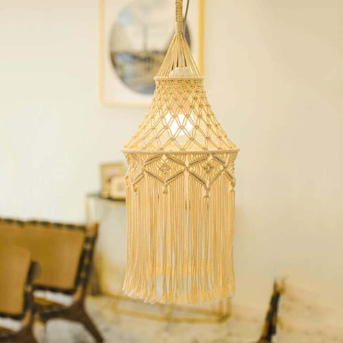 Handmade Macrame Light Shade Chandeliers Hanging Lamp Cover Boho Chic Decor Light Cover Light Shade Macrame Woven Tapestry