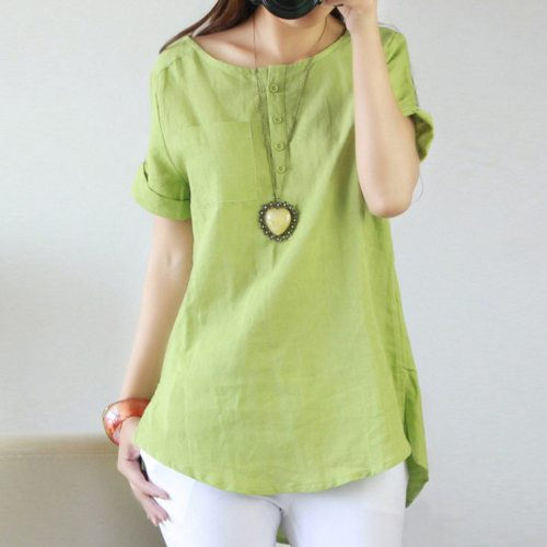 Big Size Cotton Linen Shirt Long Women's Tunic Blouse Loose Short Sleeve Solid Color Blouse Shirts