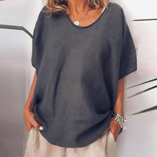 Women's Summer Vintage Linen Cotton Blouse Casual Loose Short Sleeve Plus Size Blouse Shirt