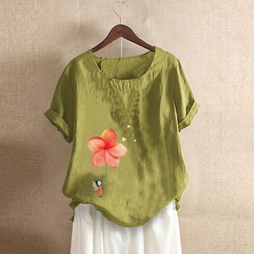 Women Casual Floral Print Patched Short Sleeve O-Neck T-shirt Top Blouse