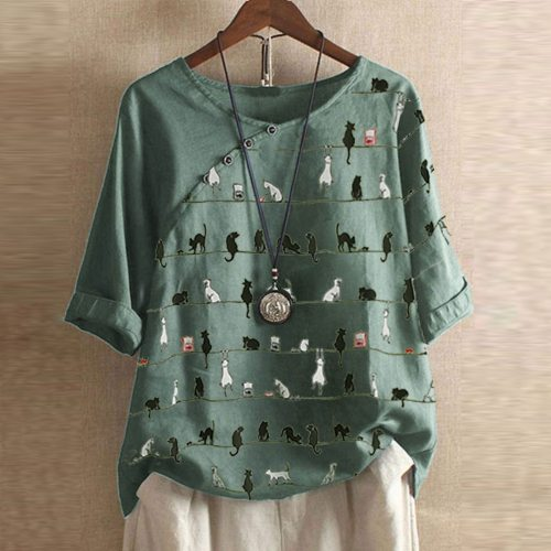 Blouses Woman Clothing Summer Office Lady Big Size Tunic Tops 2021 Casual Short Sleeve Cat Print Shirt Blouse