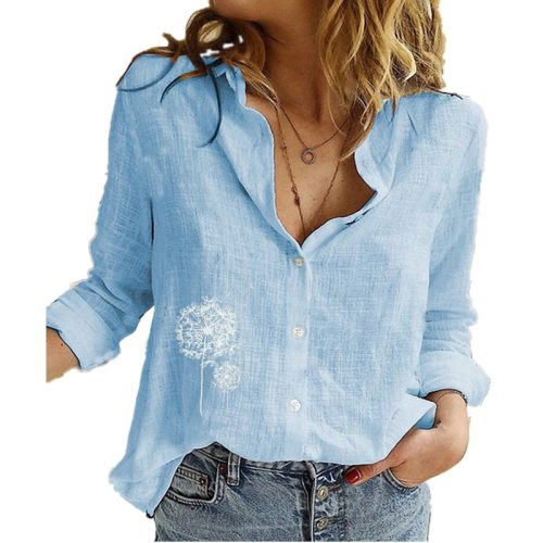 Women Blouse Shirt Long Sleeve Casual Office Shirts Retro Print Cotton Linen Tops Clothing
