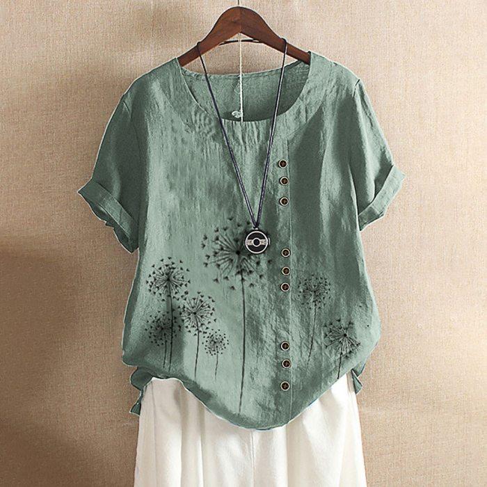 2021 Blouse Women Flower Print Vintage Linen Blouse Tops Female Button Shirts Short Sleeve Summer Oversized Shirt