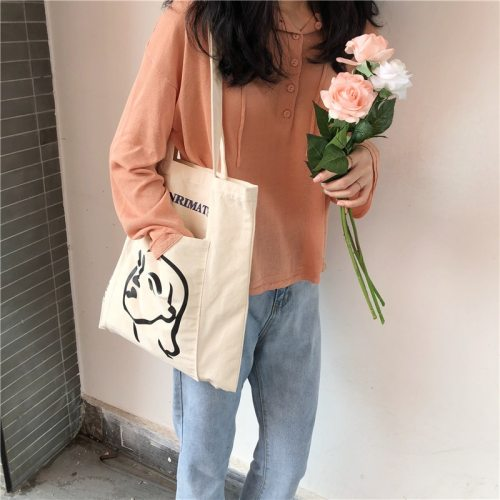 Women Canvas Shoulder Bag Ladies Casual Handbag Letters Printing Tote Bags Reusable Foldable Large Capacity Cotton Shopping Bag