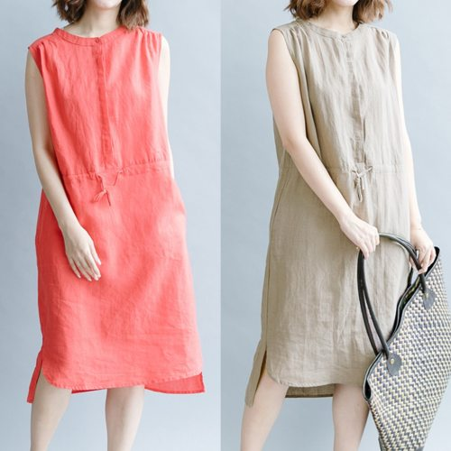 Women Cotton Linen Solid Color Collar Sleeveless Casual Plus Size Dress
