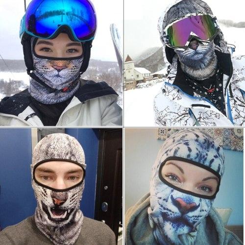 3D Cat Dog Cute Animal Balaclava Motorcycle Motocross Moto Skiing Snowboard Hat Helmet Liner Biker Full Face Mask Cap Men Women