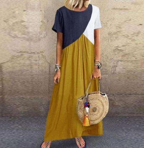 2021 Women Dresses Long maxi dresses for women vestidos casual dress Beach Patchwork Color Loose Casual Plus Size Dress