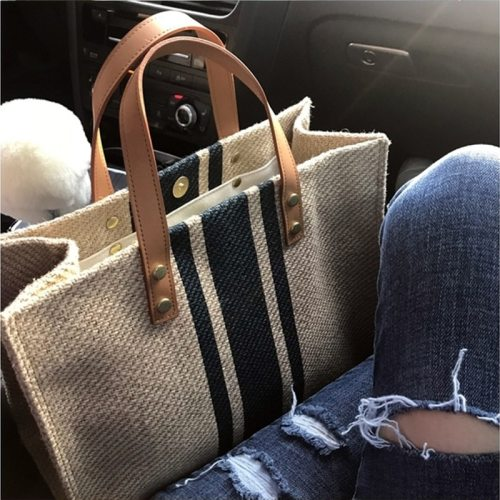 Women Canvas Striped Handbag Designer Tote Shoulder Bags Lady Casual Straw Messenger Bag Large Capacity OL Business Briefcase