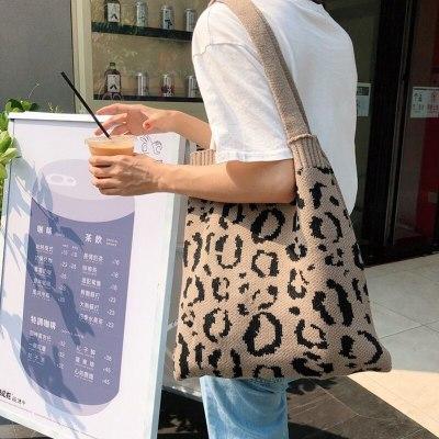 Women Leopard Knitting Tote Shoulder Bags Casual Weave Handbags Female Large Capacity Soft Shopping Bag Cute Book Bag For Girls