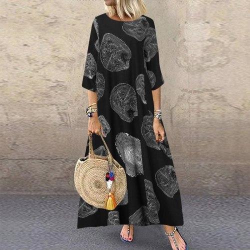 Women Cotton Print  Linen Graffiti  Sleeve Long Dress Printed  Contrast Casual Dress
