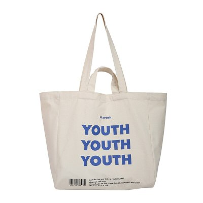 Women Canvas Shoulder Bag YOUTH Letters Printing Female Casual Handbags Tote Eco Reusable Large Cotton Cloth Shopping Beach Bags