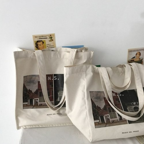 Women Canvas Shoulder Bag Prado Museum Pictures Printing Tote Female Casual Retro Handbags Large Cotton Cloth Shopping Book Bags