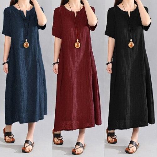 Women Vintage Linen Dress V Neck Short Sleeve Solid Pockets Casual Loos Plus Size Dresses