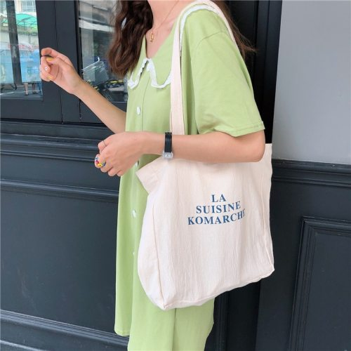 Women Canvas Shoulder Bag Letters Printing Ladies Casual Handbag Totes Eco Reusable Cotton Linen Shopping Travel Beach Bag