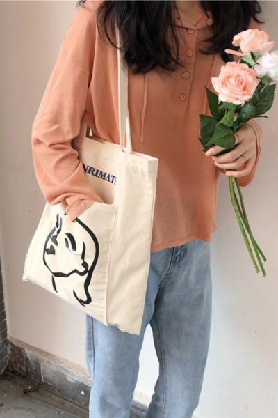 Women Canvas Shoulder Bag Ladies Casual Handbag Letters Printing Tote Bags Reusable Foldable Large Capacity Cotton Shopping Bag