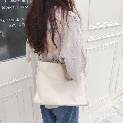 Women Canvas Tote Shoulder Bag Female Large Capacity Simple Handbags Casual Cotton Cloth Shopping Girls School Crossbody Bags